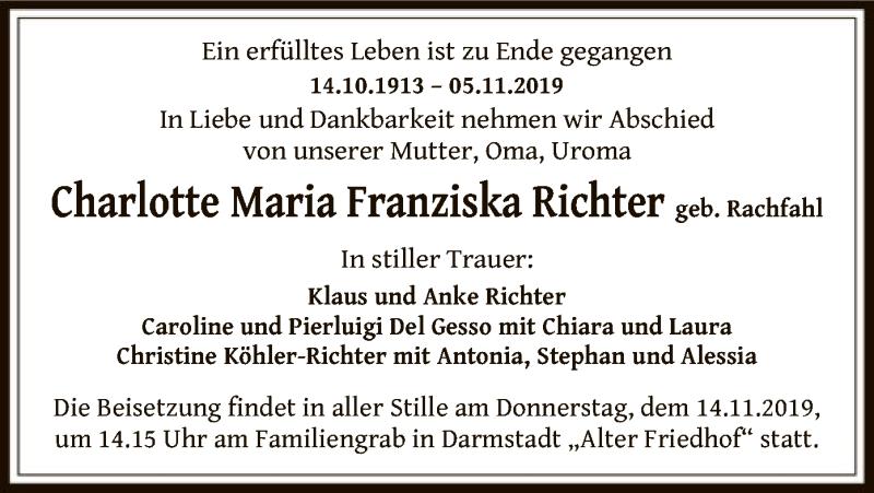 Anzeige von  Charlotte Maria Franziska Richter