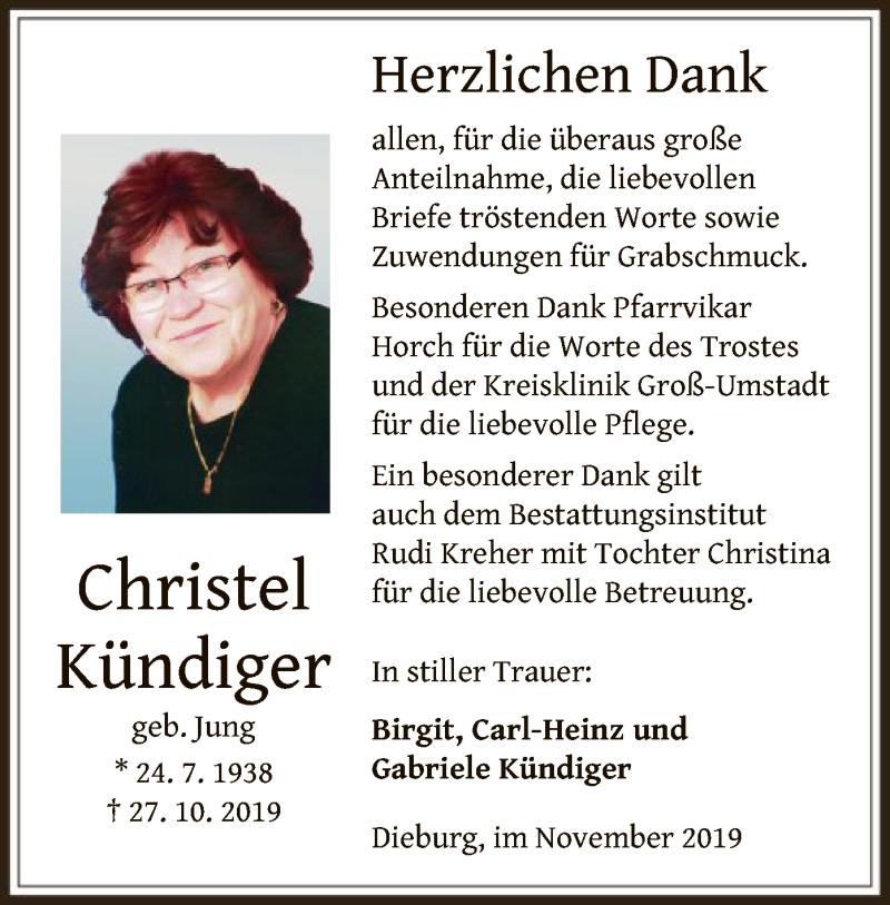 Anzeige von  Christel Kündiger