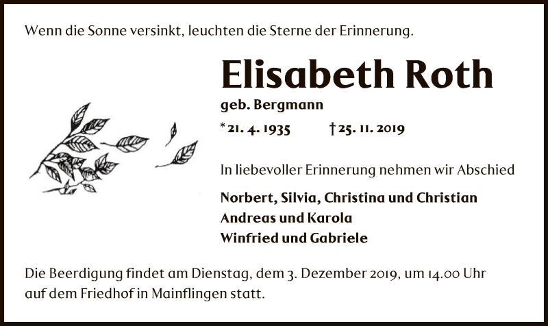Traueranzeige für Elisabeth Roth vom 30.11.2019 aus Offenbach