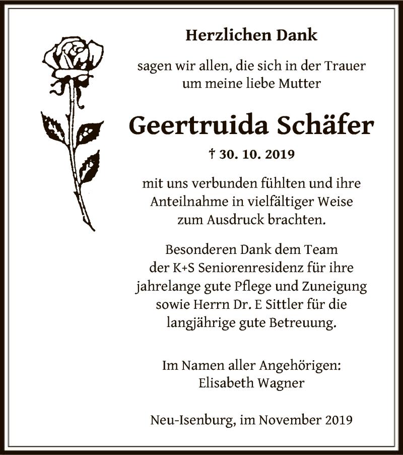 Traueranzeige für Geertruida Schäfer vom 07.11.2019 aus Offenbach