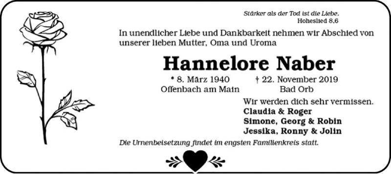 Traueranzeige für Hannelore Naber vom 30.11.2019 aus Offenbach