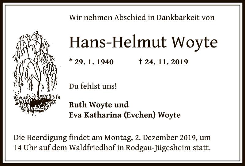 Traueranzeige für Hans-Helmut Woyte vom 30.11.2019 aus Offenbach