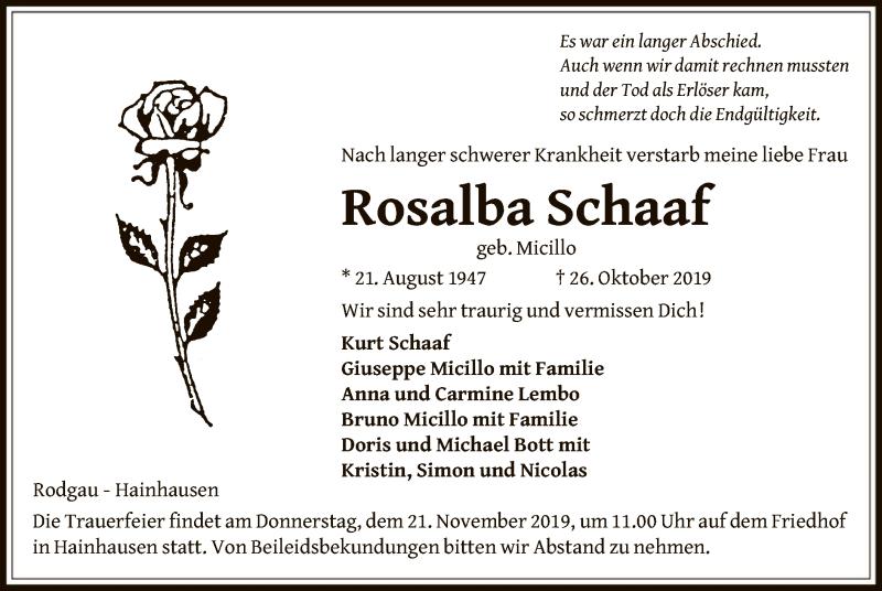 Anzeige von  Rosalba Schaaf