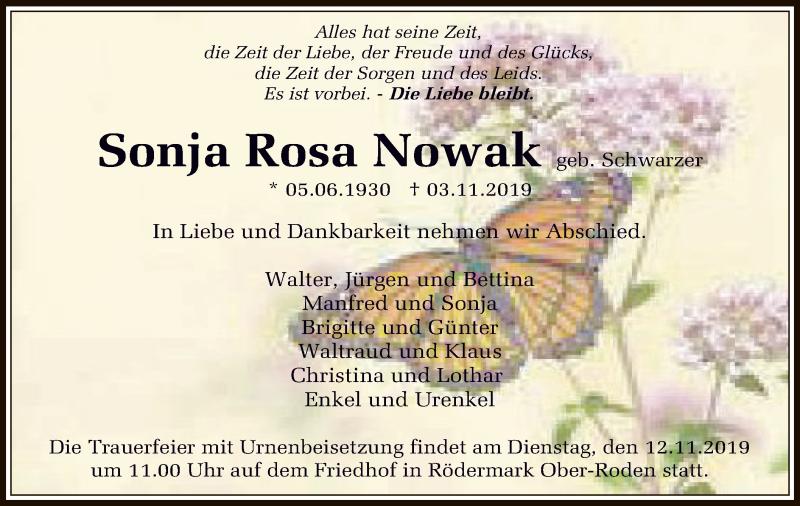 Traueranzeige für Sonja Rosa Nowak vom 07.11.2019 aus Offenbach