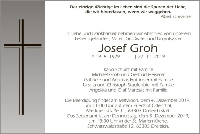 Traueranzeige für Josef Groh vom 05.12.2019 aus Offenbach