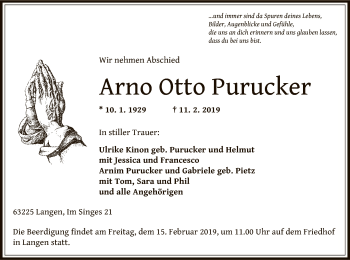 Traueranzeige von Arno Otto Purucker von Offenbach
