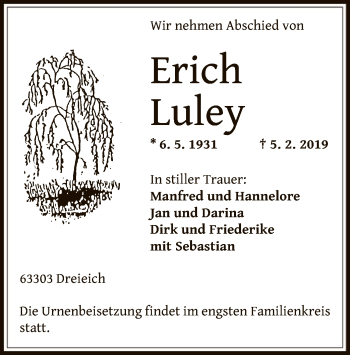 Traueranzeige von Erich Luley von Offenbach