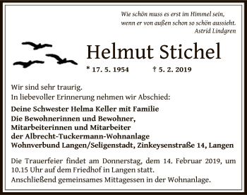 Traueranzeige von Helmut Stichel von Offenbach