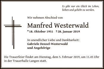 Traueranzeige von Manfred Westerwald von Offenbach
