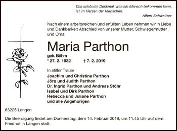 Traueranzeige von Maria Parthon von Offenbach
