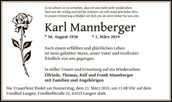 Traueranzeige von Karl Mannberger von Offenbach