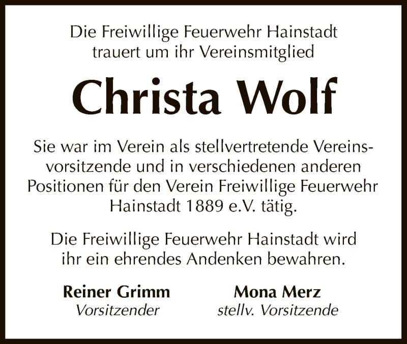 Traueranzeige für Christa Wolf vom 10.04.2019 aus Offenbach