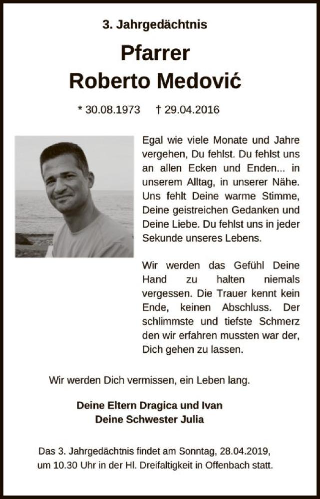 Traueranzeige für Pfarrer Roberto Medovic vom 27.04.2019 aus Offenbach