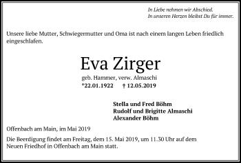 Traueranzeige für Eva Zirger vom 15.05.2019 aus Offenbach