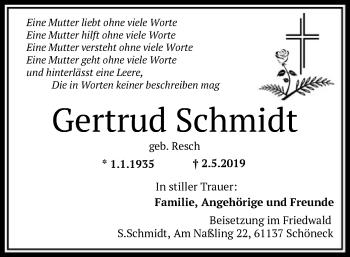 Traueranzeige für Gertrud Schmidt vom 15.05.2019 aus Offenbach