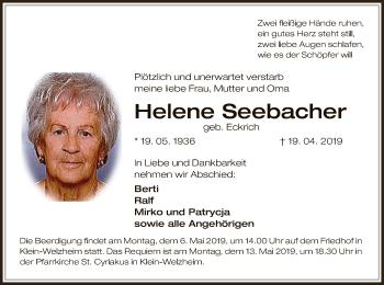 Traueranzeige für Helene Seebacher vom 01.05.2019 aus Offenbach