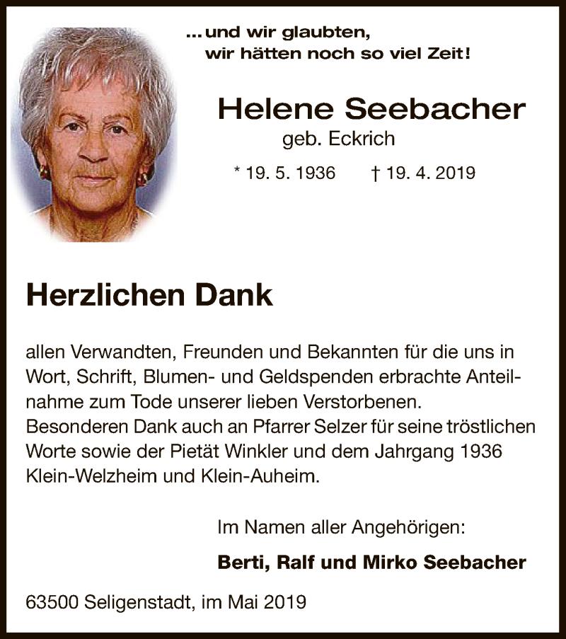 Traueranzeige für Helene Seebacher vom 15.05.2019 aus Offenbach