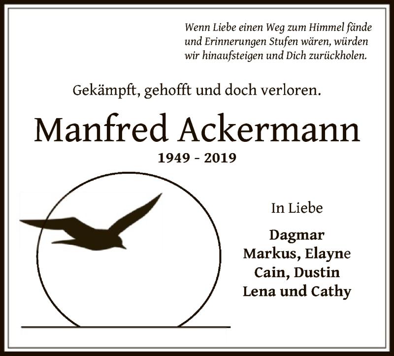 Traueranzeige für Manfred Ackermann vom 15.05.2019 aus Offenbach