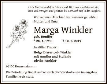 Traueranzeige für Marga Winkler vom 17.05.2019 aus Offenbach