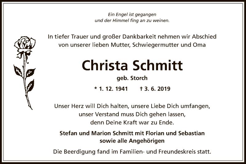 Traueranzeige für Christa Schmitt vom 13.06.2019 aus Offenbach