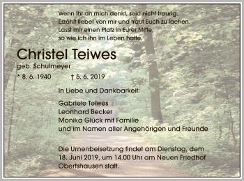 Traueranzeige für Christel Teiwes vom 15.06.2019 aus Offenbach