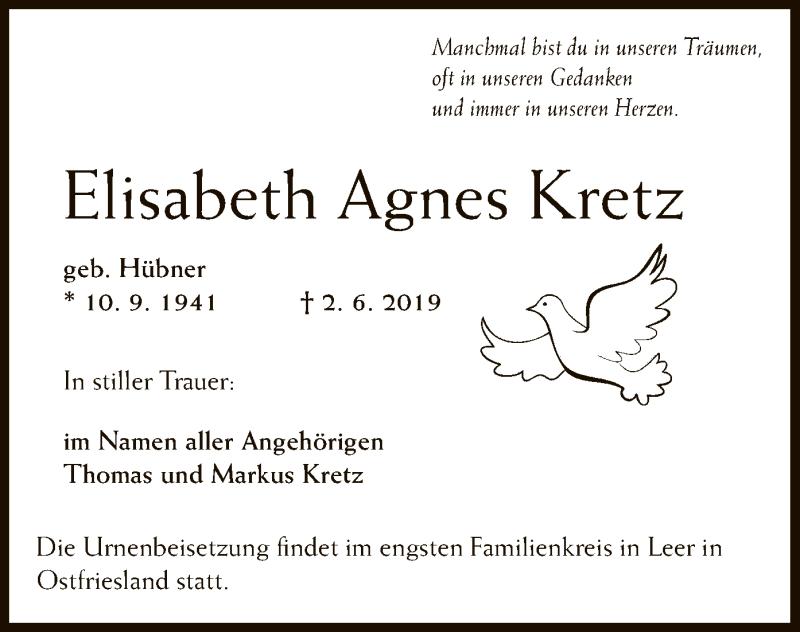 Traueranzeige für Elisabeth Agnes Kretz vom 13.06.2019 aus Offenbach