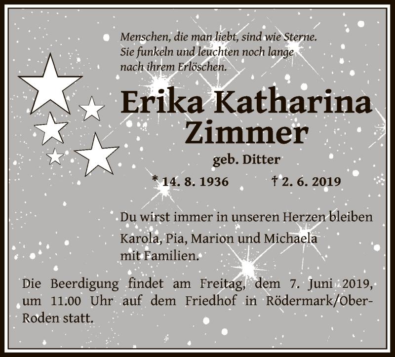 Traueranzeige für Erika Katharina Zimmer vom 06.06.2019 aus Offenbach