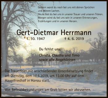 Traueranzeige für Gert-Dietmar Herrmann vom 12.06.2019 aus Offenbach