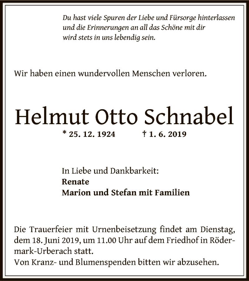 Traueranzeige für Helmut Otto Schnabel vom 13.06.2019 aus Offenbach