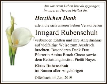 Traueranzeige für Irmgard Rubenschuh vom 08.06.2019 aus Offenbach