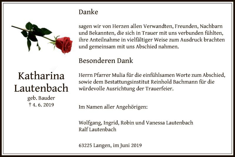 Traueranzeige für Katharina Lautenbach vom 20.06.2019 aus Offenbach