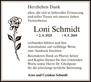 Traueranzeige für Loni Schmidt vom 05.06.2019 aus Offenbach