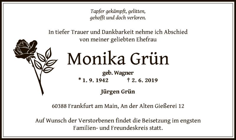 Traueranzeige für Monika Grün vom 12.06.2019 aus Offenbach