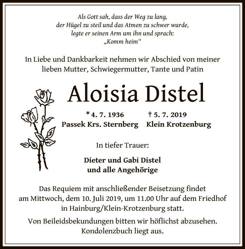 Traueranzeige für Aloisia Distel vom 10.07.2019 aus Offenbach