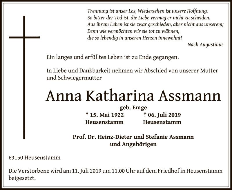 Traueranzeige für Anna Katharina Assmann vom 10.07.2019 aus Offenbach