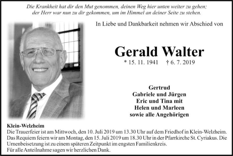 Traueranzeige für Gerald Walter vom 09.07.2019 aus Offenbach