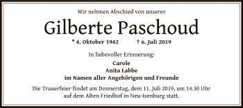 Traueranzeige für Gilberte Paschoud vom 11.07.2019 aus Offenbach
