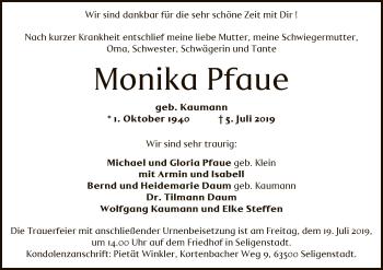 Traueranzeige für Monika Pfaue vom 16.07.2019 aus Offenbach