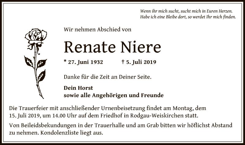 Traueranzeige für Renate Niere vom 13.07.2019 aus Offenbach