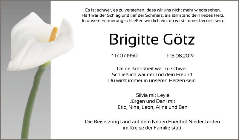 Anzeige von  Brigitte Götz