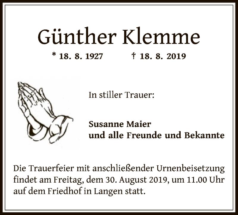 Anzeige von  Günther Klemme