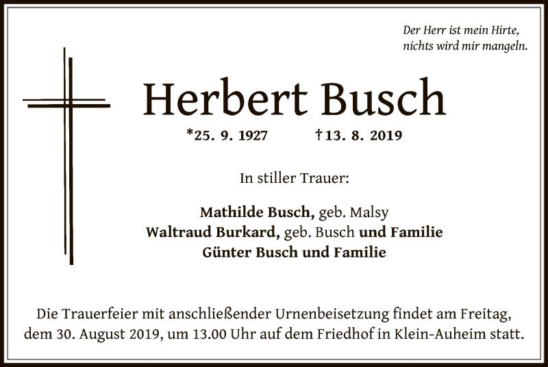 Anzeige von  Herbert Busch