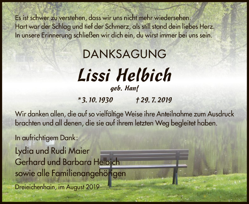 Anzeige von  Lissi Helbich