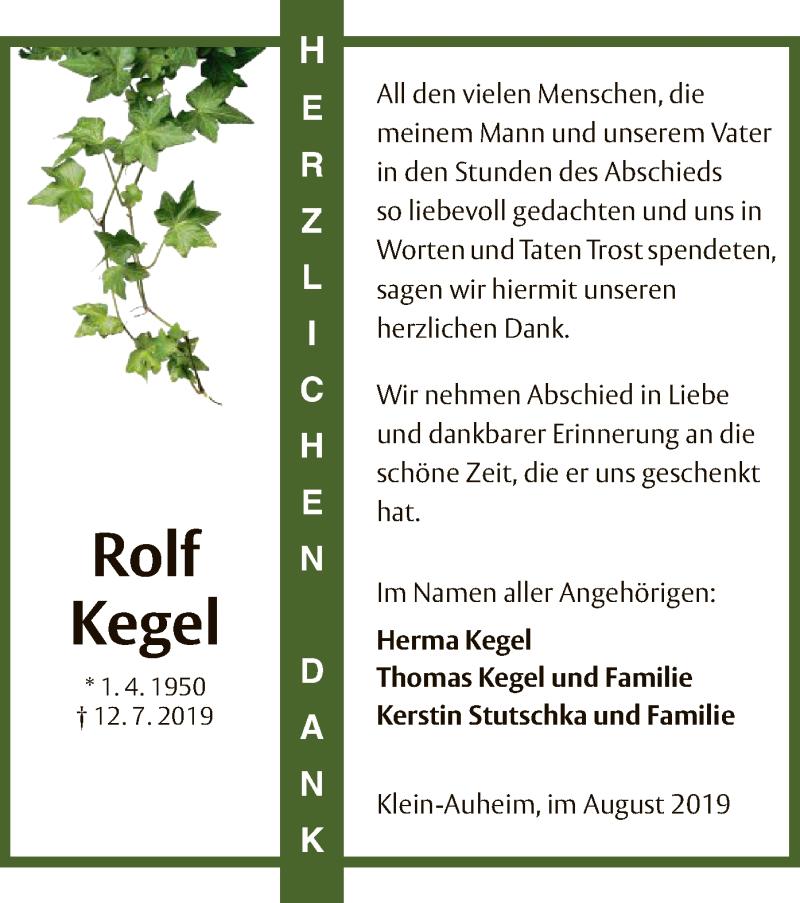Anzeige von  Rolf Kegel