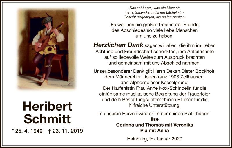 Traueranzeige für Heribert Schmitt vom 25.01.2020 aus Offenbach