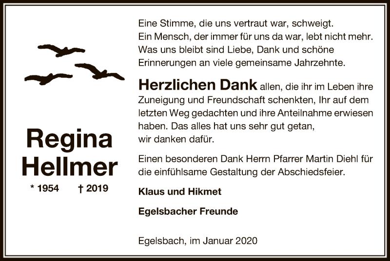 Traueranzeige für Regina Hellmer vom 09.01.2020 aus Offenbach