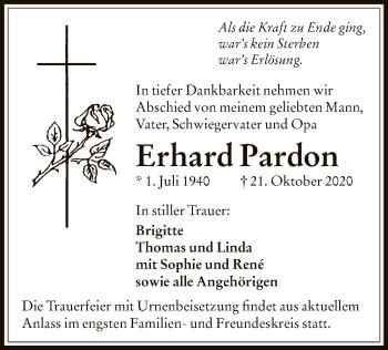 Traueranzeige von Erhard Pardon von OF