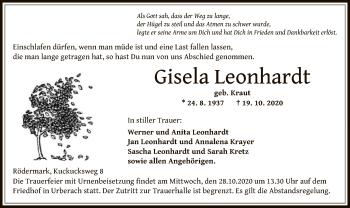 Traueranzeige von Gisela Leonhardt von OF