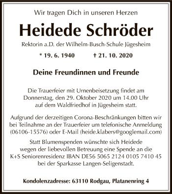 Traueranzeige von Heidede Schröder von OF