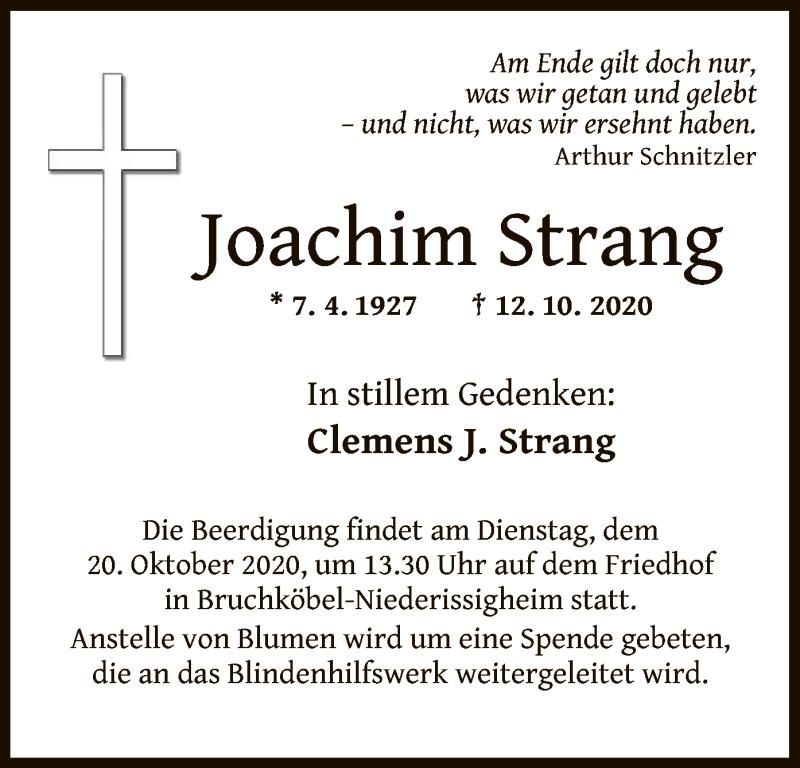Traueranzeige für Joachim Strang vom 17.10.2020 aus OF